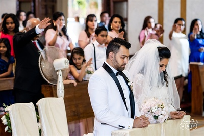 a candid capture of the couple during the wedding ceremonies