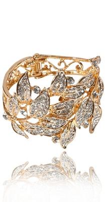 Ti Couture Golden leaf stone bracelet