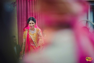 Candid click of bride and groom as they see each other for the first time