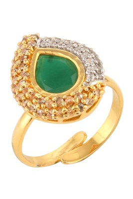 Dilan Jewels Emerald Green Silver & Gold Plated Fusion Party Cocktail Ring