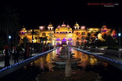 Shiv Vilas Palace beautifully decorated for the Baraatis and the sangeet ceremony.
