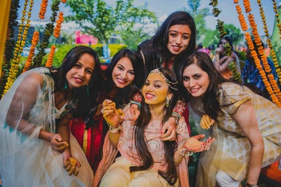 Girl power! The bride and her bridesmaids