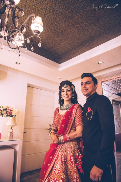 Bride and groom enter the reception function at The Imperial Hotel, Delhi