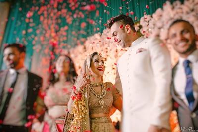 Bride and groom candid wedding photography