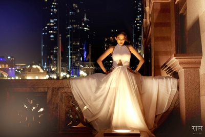Bride poses in her white gown during the pre wedding shoot