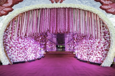 elaborate floral decor for the entrance of the venue