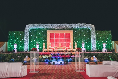 elaborate floral decor for the sangeet ceremony
