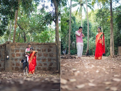 Bride and Groom picture idea in forest wedding held at Goa