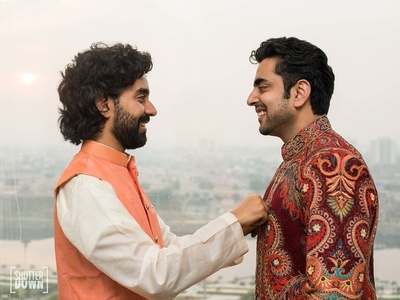 Groom and his brother get ready for the wedding function at Hotel Renaissance, Lucknow