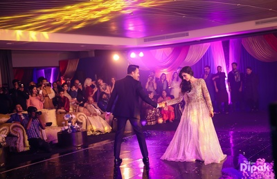 A romantic dance performance by the newly engaged couple