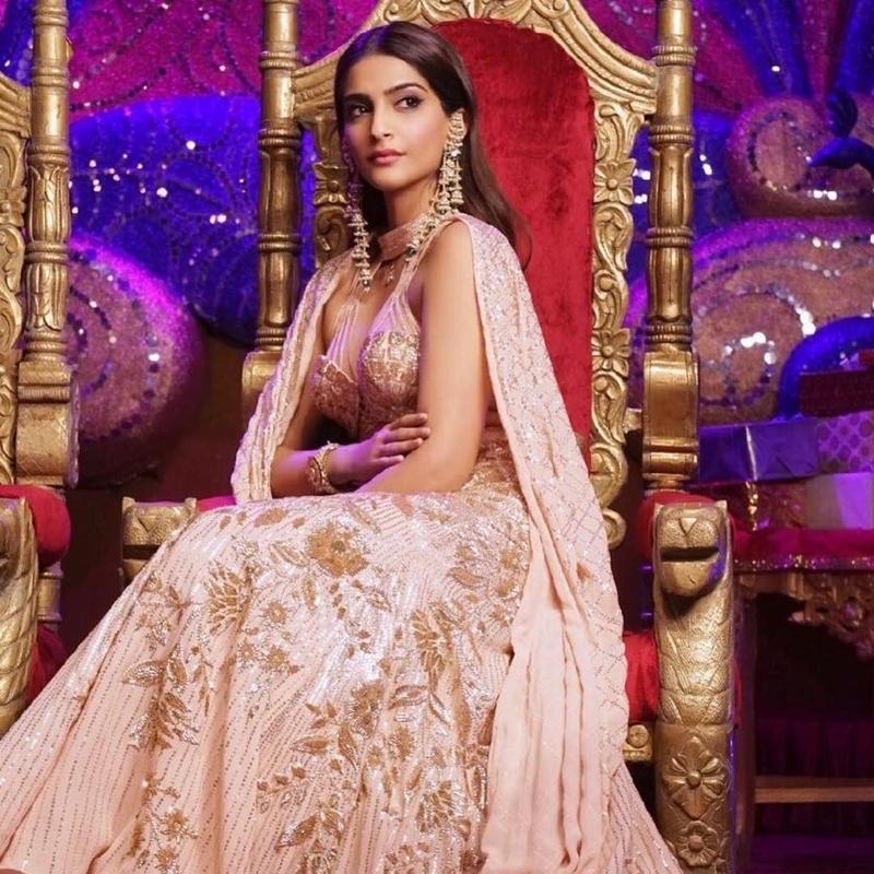 Sonam Kapoor in a rose gold lehenga from the movie Veere Di Wedding
