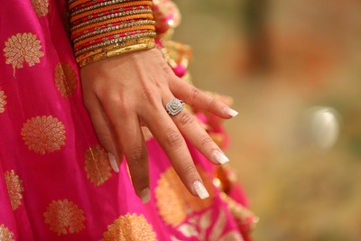 Bride flaunting her engagement ring