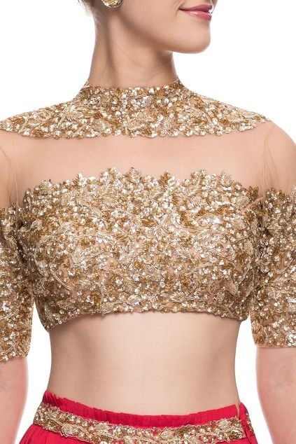 313653f75a If you want a golden blouse design that you can wear with both a saree or a  lehenga, then do consider making it like this golden sequined blouse with  sheer ...
