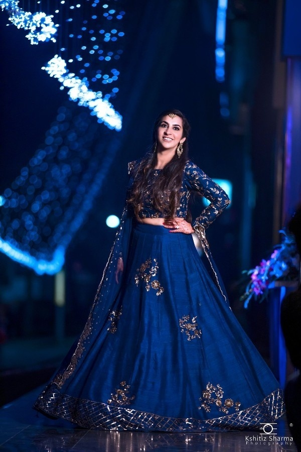 2. The Navy Blue Lehenga With Golden Patch Work