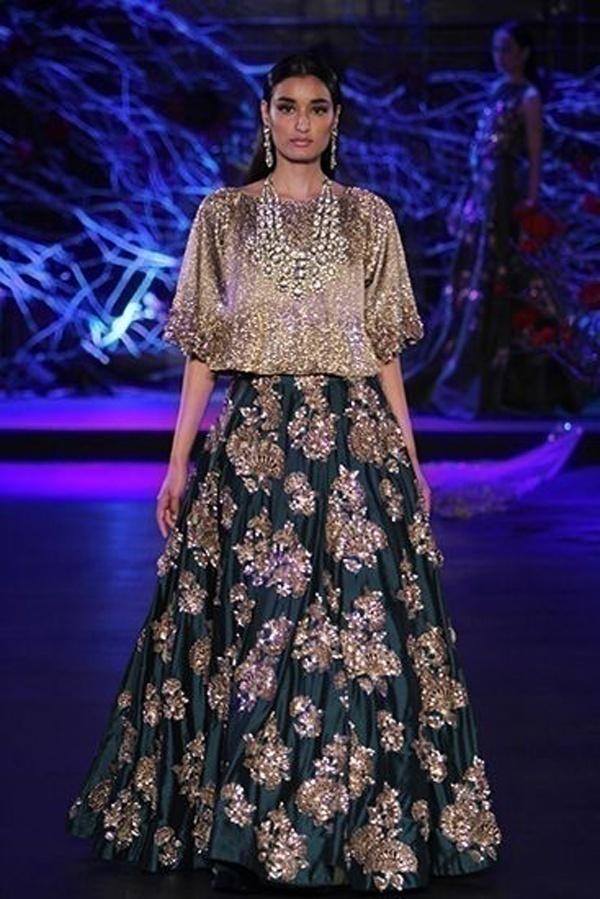 Super trendy and shiny bridal lehenga for wedding parties by Manish Malhotra