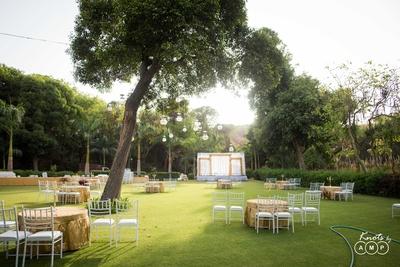 Mandap and seating decor at  Bal Samand Lake Palace, Jodhpur