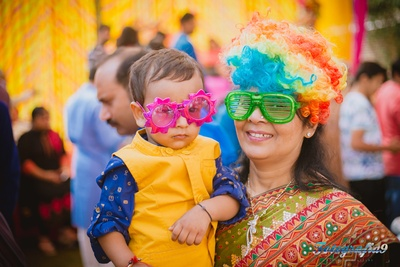 Quirky props for the pink and yellow themed haldi ceremony