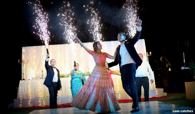 bride and groom dance for the sangeet ceremony