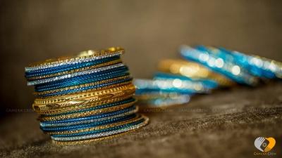 Blue, gold, silver bangle set