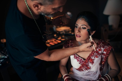 Bride getting ready for her wedding ceremony