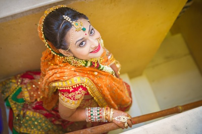 Decked in a mixed match wedding lehenga