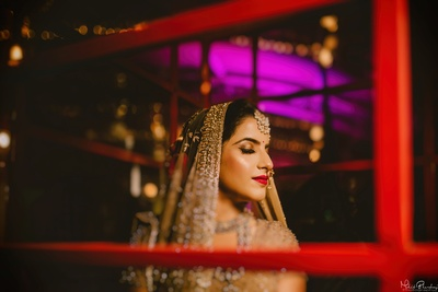 Beautiful bride in her wedding ceremony