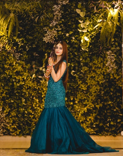 bridal blue gown for the mehendi ceremony