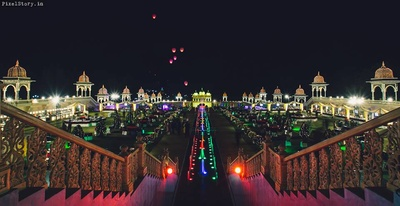 Ramoji Film City beautifully decorated with lights for the wedding ceremony.
