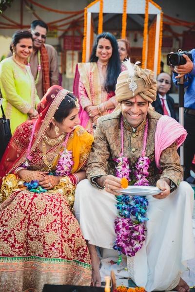 Cute happy fun wedding ceremony.