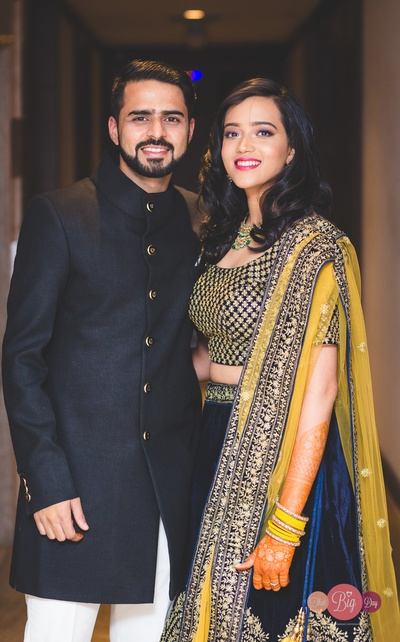 Ritika and Yash sport matching outfits for their Sangeet cum Engagement ceremony.