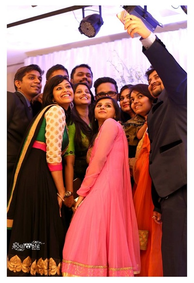 Wedding Selfies! Friends and relatives celebrating Reena and Satvik.