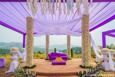 Splendid purple and white mandap decor
