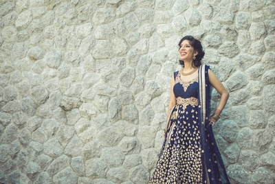 Ink blue wedding gown for South Indian Wedding