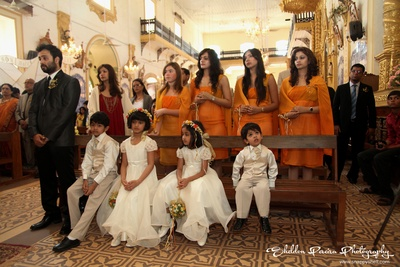 White and orange themed wedding functions