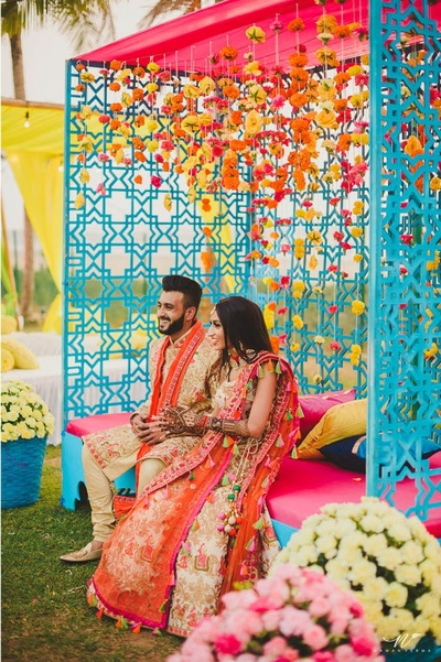 beautiful, colorful decor for the mehendi ceremony