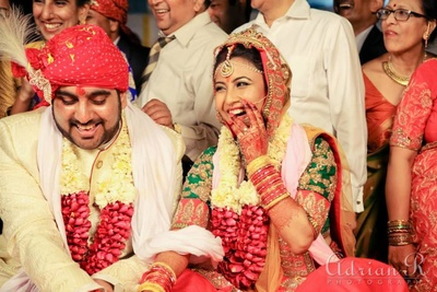 Color coordinated wedding lehenga