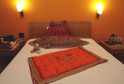 Detailed lehenga from the Vasansi, Jaipur