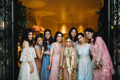 Bridesmaids squad - All wearing shades of pastels for the wedding ceremony.