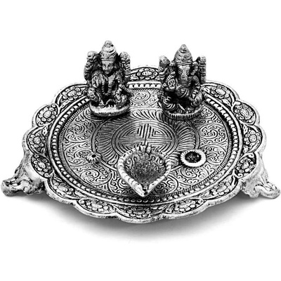 Boontoon Oxidised ganesh lakshmi pooja thali along with diyas