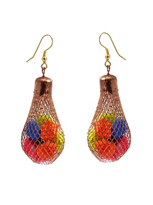 Mesh Copper Bulb Earrings