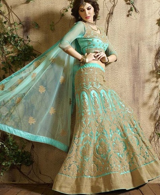 Variation Blue Georgette Designer Ghaghra Choli