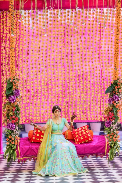 Gota decor for mehndi function by Dream Knots captured by Camera Crew at Radisson Blu Udaipur