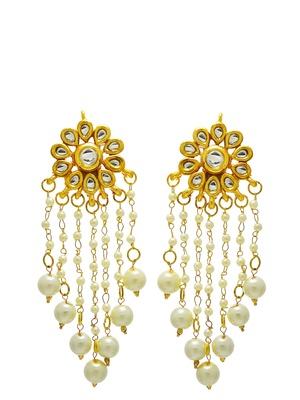 Imli Street Kundan Stud With Hanging Pearl