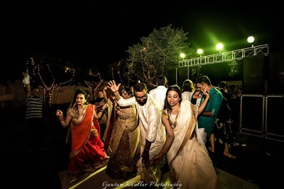 Guests dancing at the sangeet ceremony.