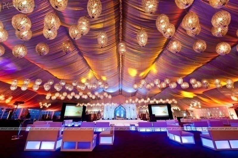 Indoor canopy of lights