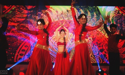 Dancers at a performance at the Sangeet ceremony.