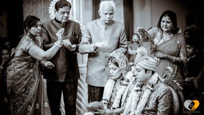 Wedding rituals captured in a monochrome tone