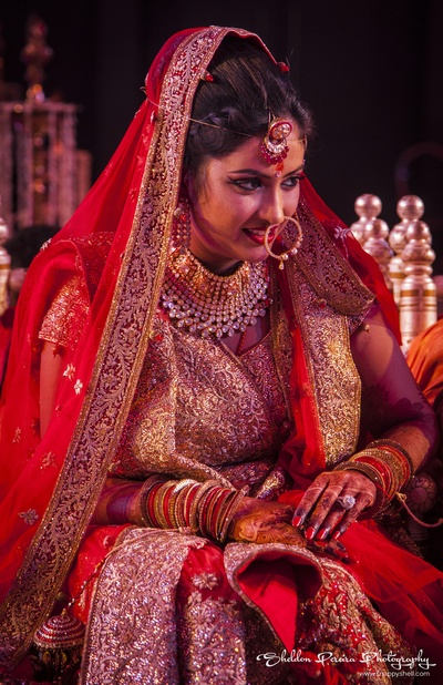 Heavy bridal polki necklace with maangtikka and nose hoop