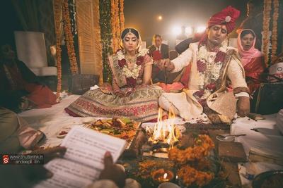 Dressed in regal wedding attires for their wedding ceremony