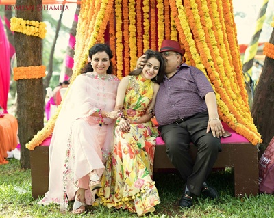 family photo at sangeet function